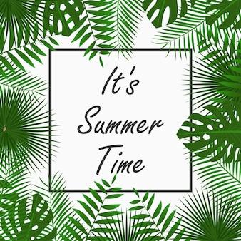 Дизайн летней карты с тропическими пальмовыми листьями, джунглями, экзотическими растениями и рамкой