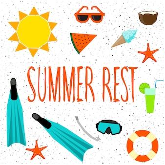 여름 시간 카드입니다. 흰색 표지에 격리된 수제 추상 여름 개체와 디자인 티셔츠, 휴일 카드, 초대장, 유치한 그림, 브로셔, 스크랩북, 앨범 등을 위한 손으로 쓴 글씨입니다.