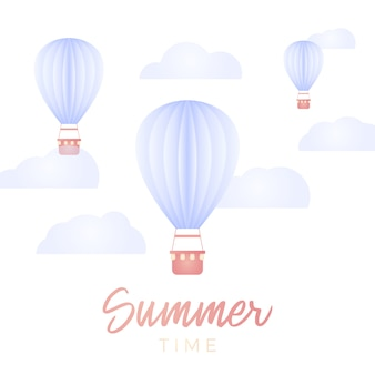 Summer time card. hot air ballon and cloud in the blue sky with paper art design   design element and illustration