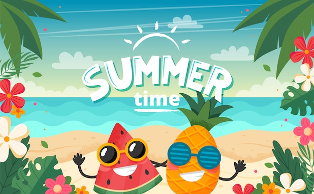 Summer time card with fruits character, beach landscape, lettering and floral frame.