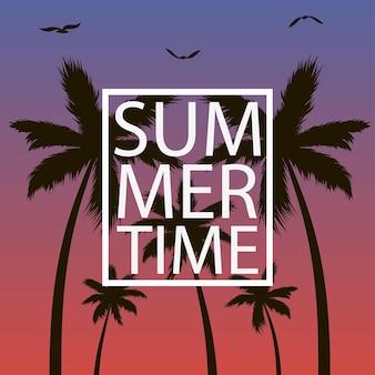 Летняя открытка с пальмами чайка и рамка фон для баннера, плаката, обложки открытки