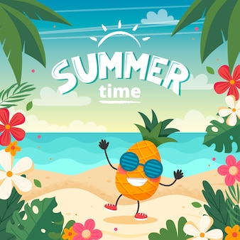 Summer time card with pineapple character, beach landscape, lettering and floral frame.