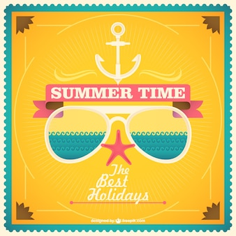 Summer time card with sunglasses