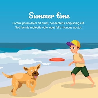 Summer time. cartoon boy play flying disk with dog