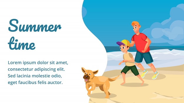 Summer time cartoon happy family play with dog