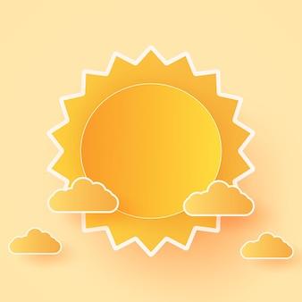 여름 시간, cloudscape, 구름과 태양이 있는 밝은 하늘, 종이 예술 스타일