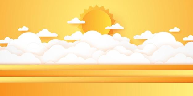 여름 시간, cloudscape, 밝은 태양이 있는 흐린 하늘, 종이 예술 스타일