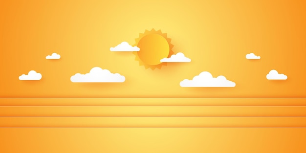 Summer time, cloudscape, cloudy sky with bright sun, paper art style