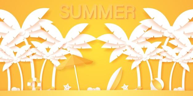 夏の時間、夏のものとココナッツ椰子の木、紙のアートスタイル