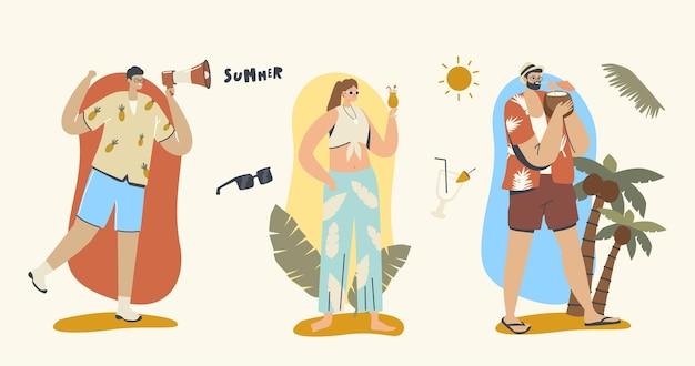 여름 시간 개념입니다. 확성기 광고 발표, 판매 프로모션을 가진 남자. 칵테일을 마시는 해변 옷의 남성과 여성 캐릭터