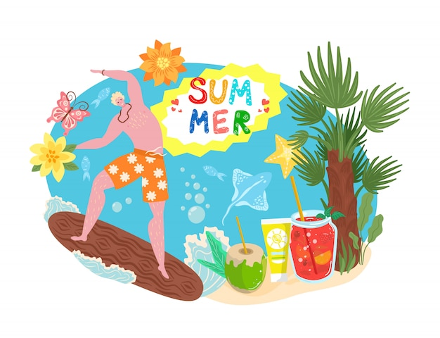 Summer time concept, tropical vacation, travel, sand beach season and surfing   illustration. surfer and palm with coctails for summer holiday on sea shore, ocean tourism, summertime.
