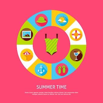 夏の時間の概念。アイコンと海の休日のインフォグラフィックサークルのベクトルイラスト。