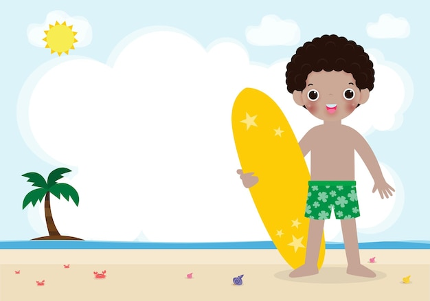Summer time and cute surfer african american children character with surfboard on beach