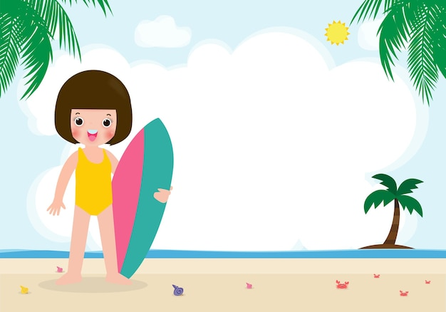 Summer time and cute surfer asian children character with surfboard on beach happy young surfe, illustration isolated on background
