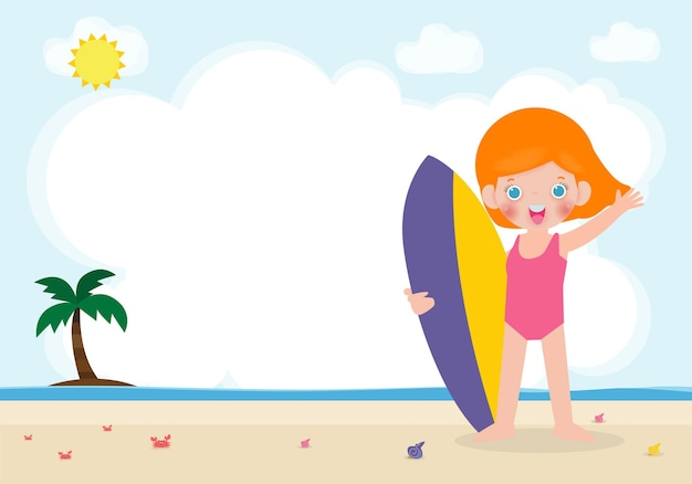 Summer time and cute surfer caucasian children character with surfboard on beach happy young surfe, illustration isolated on background