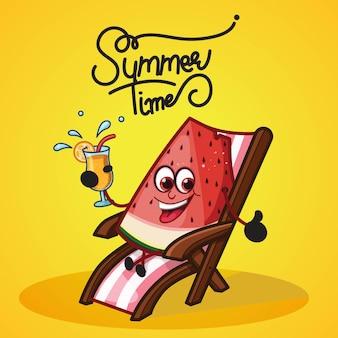 수박으로 여름 시간 디자인은 슬라이스 의자에 앉아 주스를 즐기는 것입니다