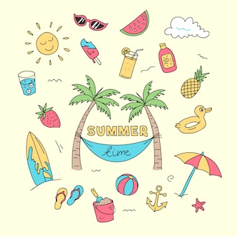 Summer time doodle beach holiday element