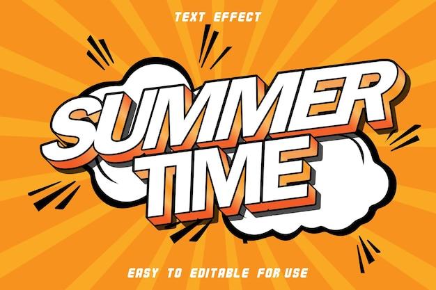 Summer time editable text effect emboss modern style