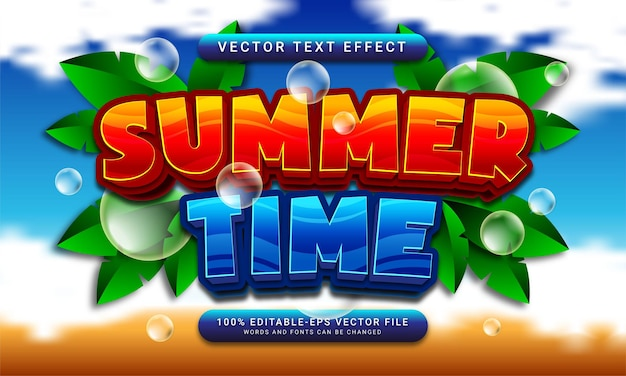 Summer time editable text style effect themed summer event