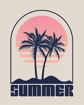 Summer time emblem or logo or label or t shirt or poster design template