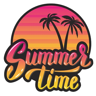 Summer time.evening sun and palm trees. hand lettering phrase.  element for poster, greeting card.  illustration.