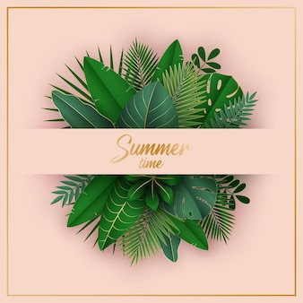 Summer time exotic background vector illustration in paper cut style