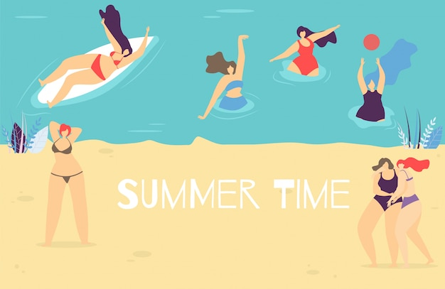 Летнее время плоский баннер с позитивной концепцией тела
