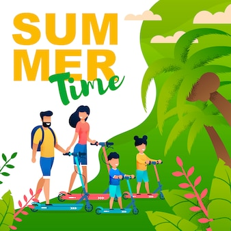 Summer time flat illustration in tropical style with family on scooters.