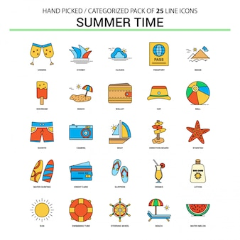 Summer time flat line icon set