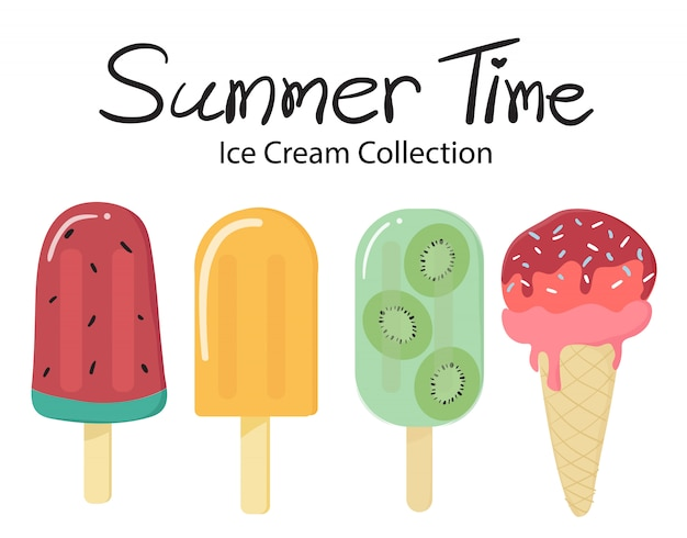 Summer time flat vector fruit ice cream popsicle collection