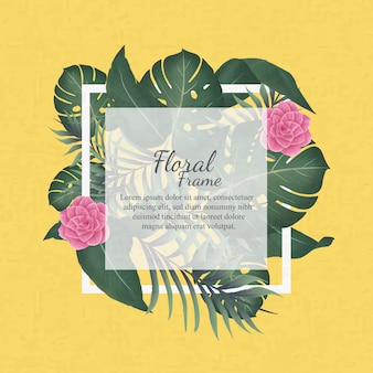 여름 시간 꽃 프레임 템플릿