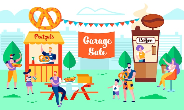 Summer time garage sale, relax, vacation family