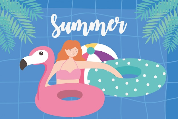 Summer time girl with floats and ball vacation tourism pool background  illustration