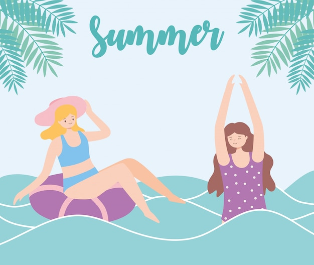Summer time girls in sea with float beach vacation tourism  illustration