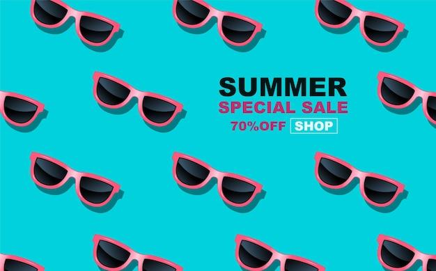夏時間、メガネの繰り返し、バナーテンプレートデザイン、イラスト
