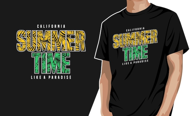 서머 타임-프린트 그래픽 티셔츠