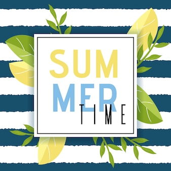 Summer time greeting in frame flat illustration
