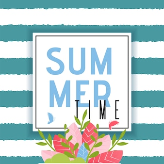 Summer time greeting text in frame over striped seamless backdrop