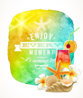 Summer time greeting with summer things against a watercolor background banner
