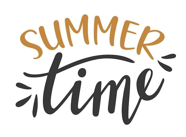여름 시간 손으로 그린 글자