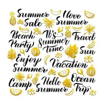 夏の手書きのレタリング。白の上の季節の書道のベクトルイラスト。