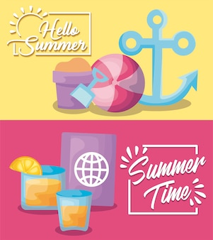Summer time holiday banner with anchor and passport