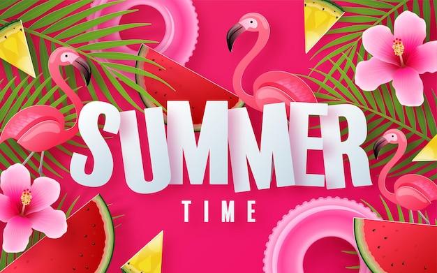 背景にbeachcolorful熱帯の花と夏の休日のデザイン Premiumベクター