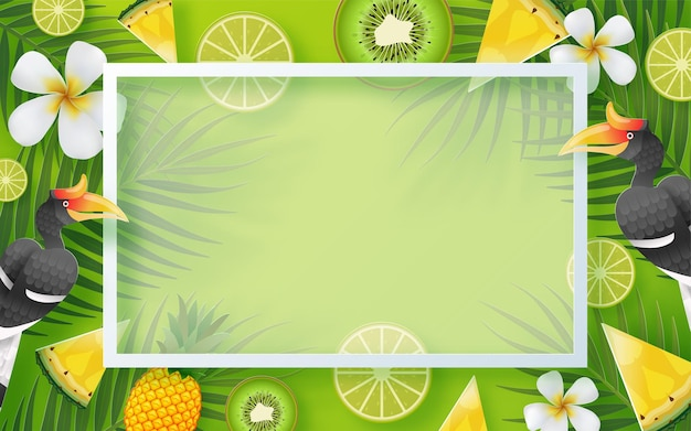 背景にbeachcolorful熱帯の花と夏の休日のデザイン