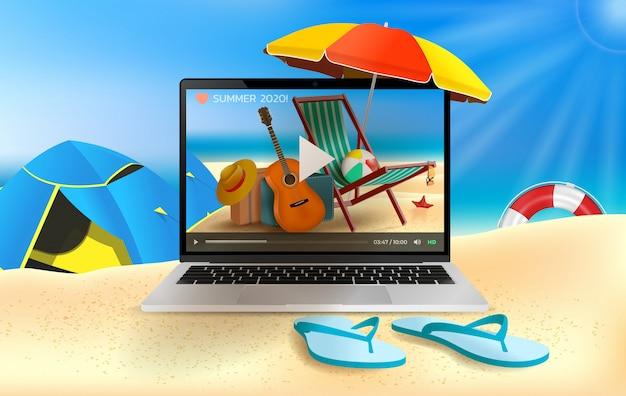 夏の休日、ビーチとオンラインのリアルなイラスト。ノートパソコン、ビーチパラソル、ギター、ビーチボール。