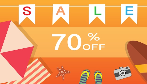 Summer time and holiday relaxation concept. vector illustration banner.