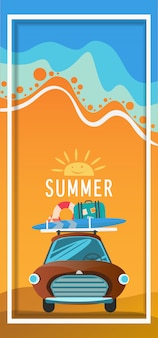 Summer time and holiday relaxation concept. vector illustration.