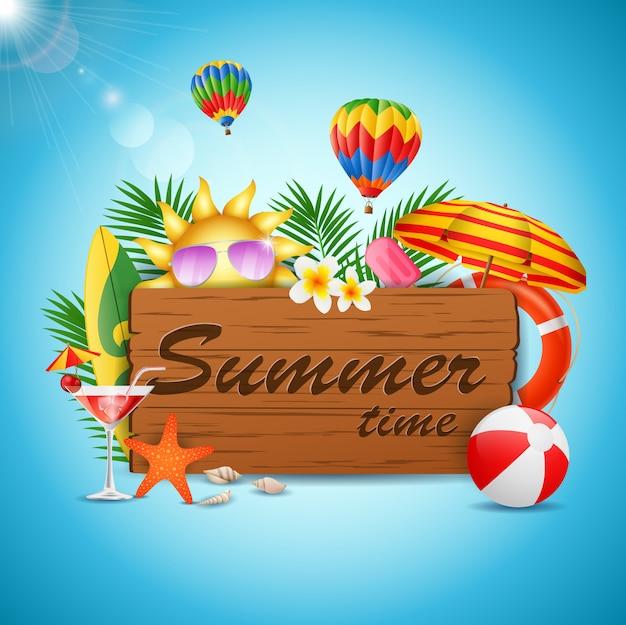 Summer time holiday typographic illustration on vintage wood. vector illustration
