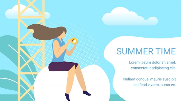 Summer time horizontal banner, woman sitting in front of telecommunication