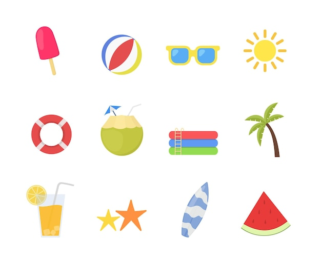 Summer time icon set in flat style design